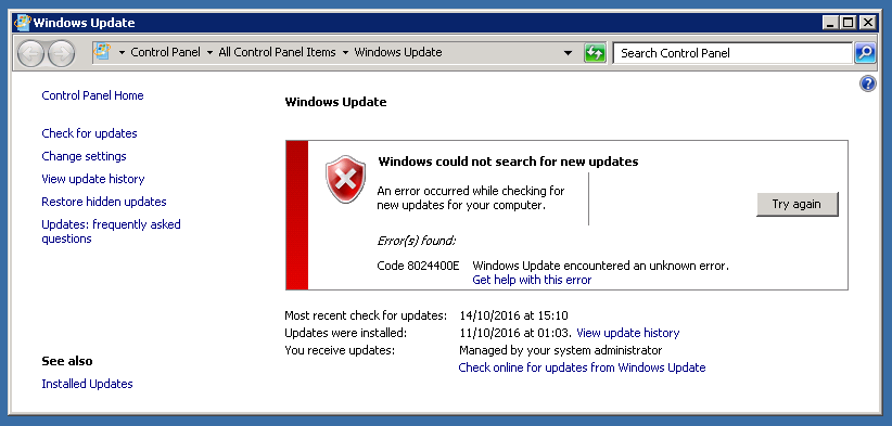 Clients not updating from WSUS – Code 8024400E | my world of IT