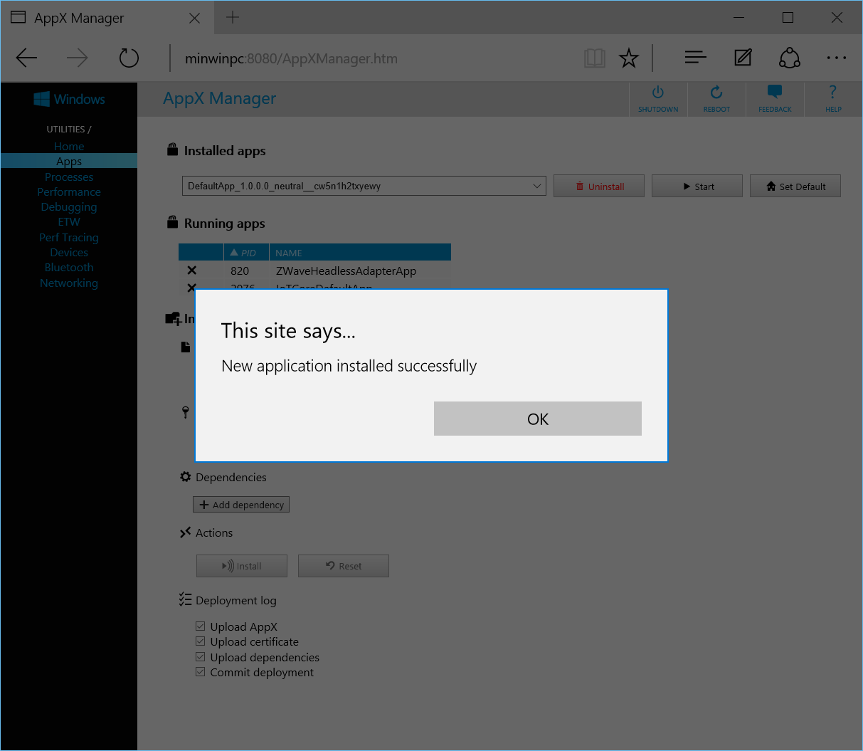 windows 10 iot core appx manager error code  0x80004005