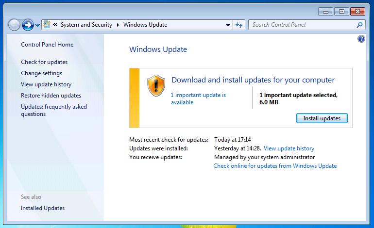 Windows live update wsus windows 7 virtual machine update