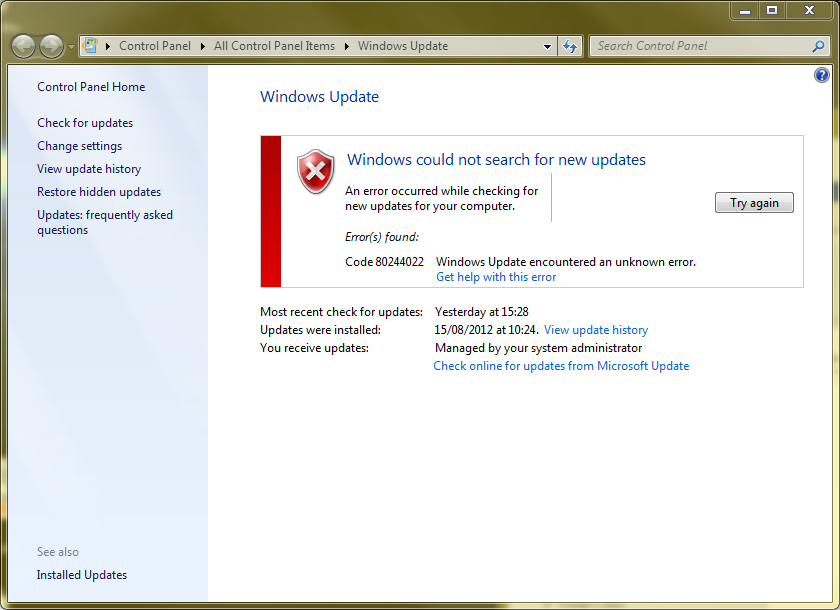 This Time Its The Turn Of Windows Update Powered By WSUS On Server 2008 R2 Error 80244022 Sometimes Seen As 8024402c