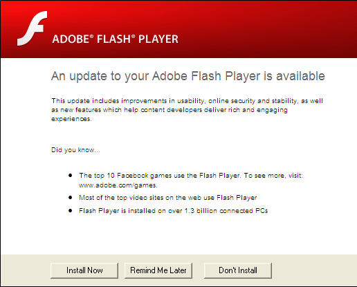 Adobe Flash Update Prompt
