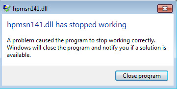 hpmsn141.dll has stopped working